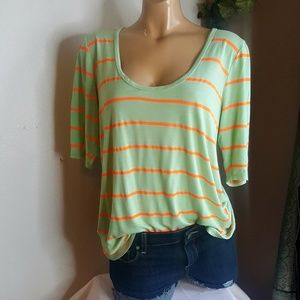 J Crew mint & Orange striped 3/4 sleeve top size L